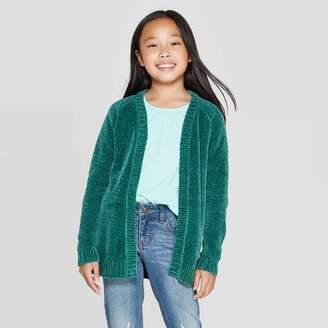 Cat & Jack Girls' Long Sleeve Open Layering Sweater Jade