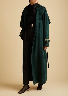 KHAITE The Libby Trench in Fern Suede