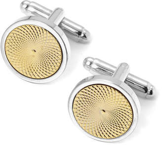 Aspinal of London Engraved Centre Round Cufflinks