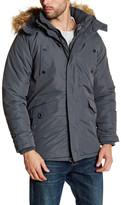 Ben Sherman Double Front Zip Faux Fur Trim Hooded Jacket