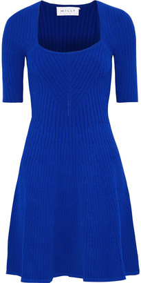 Milly Flared Ribbed-knit Mini Dress