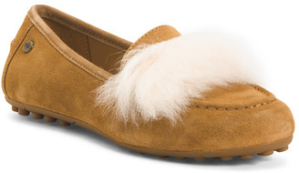 Suede Loafers With Faux Fur Detail