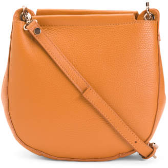 Made In Italy Leather Top Zip Crossbody