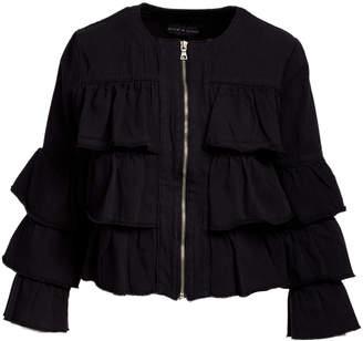 Live A Little Women's Denim Jackets BLACK - Black Ruffle Jacket - Women