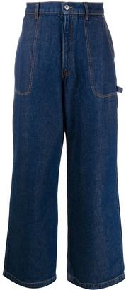 Kenzo Wide-Leg Logo Patch Jeans