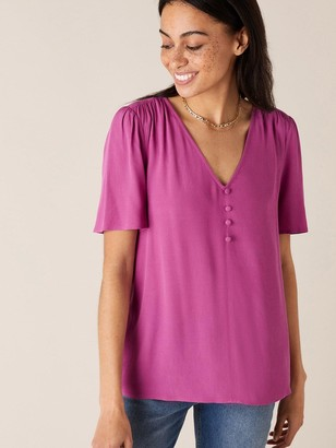 Monsoon Button Front V Neck Top - Pink
