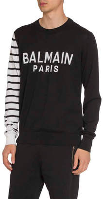Balmain Men's Colorblock Striped-Sleeve Logo Sweater