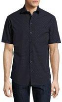 Armani Collezioni Neat Dot Short-Sleeve Sport Shirt, Navy Blue