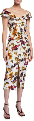 Jason Wu Collection Floral Print Washed Sateen Cocktail Dress