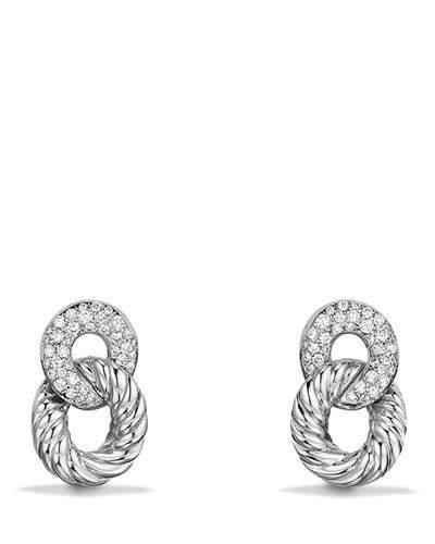 David Yurman 16.5mm Belmont Link Earrings with Diamonds in 18K White Gold