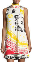 Julie Brown Sleeveless A-line Printed Dress, Red Ethnic
