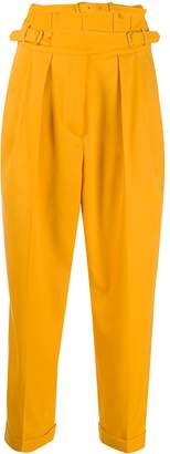 pushBUTTON Cropped Buckled Tapered Trousers