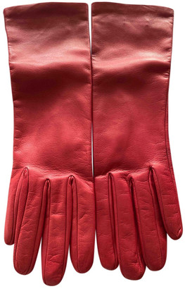 Prada Red Leather Gloves