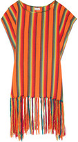 Miguelina Vega Fringed Striped Canvas Coverup