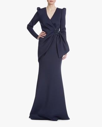 Badgley Mischka Ruched-Waist Gown