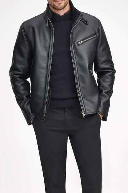 Andrew Marc Flint Faux Leather Faux Shearling Lined Moto Jacket
