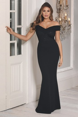 Jessica Wright Sistaglam LOVES PENNEY BLACK OFF THE SHOULDER MAXI DRESS