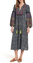 Velvet by Graham & Spencer Women's Embroidered Peasant Midi Dress