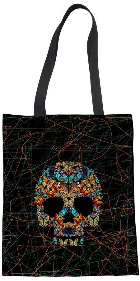 3c2c0e5df5e8 HUGS Butterfly Skull Pattern Linen Handbag Shoulder Bag Teen Girl Fashion  Tote Bag for Travel