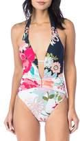 Trina Turk Royal Botanical One-Piece Swimsuit