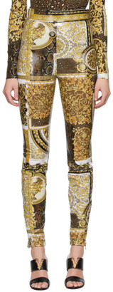 Versace Brown Barocco Patchwork Legging Trousers