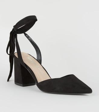 New Look Suedette Ankle Tie Block Heel Court Shoes