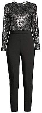 MICHAEL Michael Kors Women's Lace Sequin Tux Jumpsuit