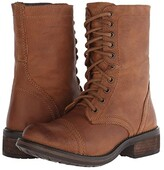 Steve Madden Troopa2.0 Combat Boot (Black Leather) Women's Shoes