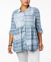 Style&Co. Style & Co Plus Size Patchwork-Print Shirt, Created for Macy's