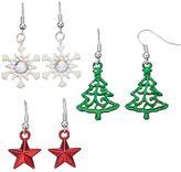 Christmas Tree, Snowflake & Star Drop Earring Set