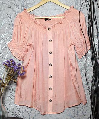 Harve Benard Women's Tunics CORAL - Coral Smocked-Neck Short-Sleeve Button-Up - Women