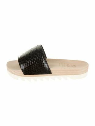 Brunello Cucinelli Snakeskin Slide Sandals w/ Tags Black