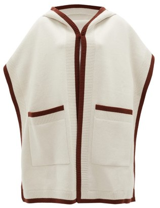 Burberry Claudia Logo-jacquard Wool-blend Hooded Poncho - Cream Brown