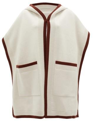 Burberry Claudia Logo-jacquard Wool-blend Hooded Poncho - Womens - Cream Brown