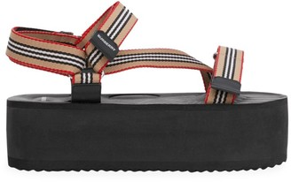 Burberry Patterson Icon Stripe Flatform Sport Sandals