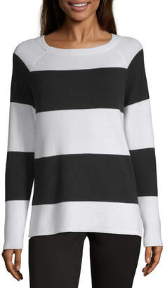 Liz Claiborne Weekend Womens Boat Neck Long Sleeve Striped Pullover Sweater