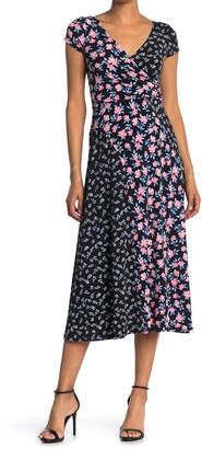 Maggy London Mixed Print Midi Dress