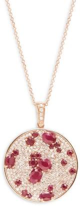 Effy 14K Rose Gold, Ruby & Diamond Pendant Necklace