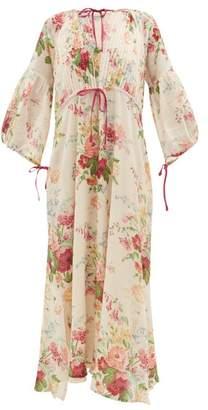 D'Ascoli Clarita Drawstring Floral-print Cotton Maxi Dress - Womens - Multi