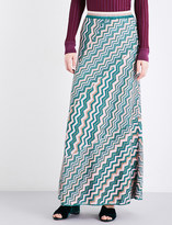 Missoni Chevron-print high-rise metallic-knit skirt