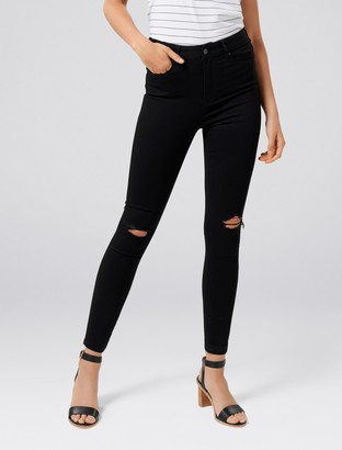 Forever New Cleo High-Rise Ankle Grazer Jeans - Ripped Forever Black - 10