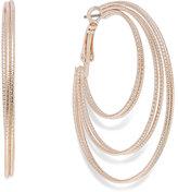 INC International Concepts Rose Gold-Tone Textured Orbital Hoop Earrings