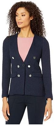 Calvin Klein Seven-Button Blazer (Twilight) Women's Coat