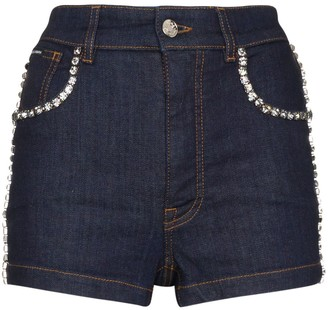 Dolce & Gabbana Swarovski crystal trim denim shorts