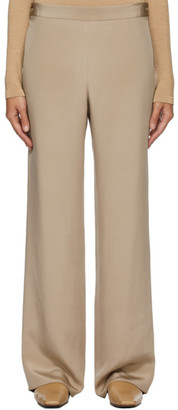 The Row Taupe Silk Ole Trousers