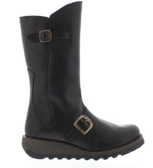 Fly London Black Leather Mes 2 Womens Boots - 4   leather   black - Black/Black