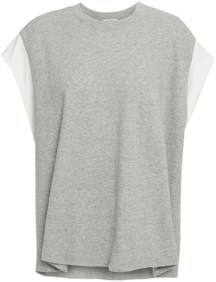 Clu Twill-trimmed Melange French Cotton-terry Top