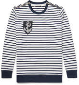 Balmain Zip-Detailed Appliquéd Striped Cotton Sweater
