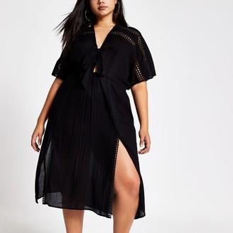 River Island Womens Plus Black short sleeve kimono dress