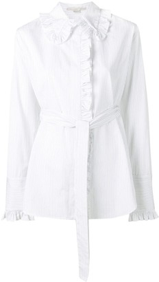 Stella McCartney Ruffle Trim Pinstripe Shirt